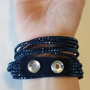 SWAROVSKI Bracelet in Blue Suede